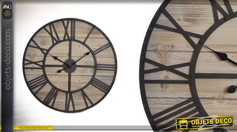 Horloge murale en bois et métal foncé Ø70 - L'heure à la sommelerie
