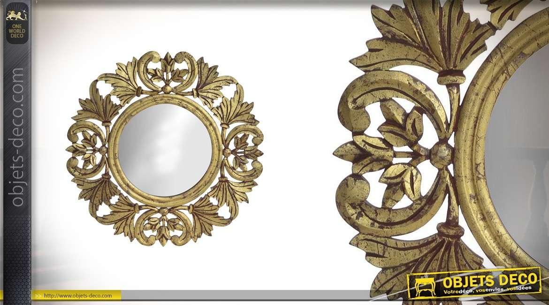 Miroir en bois sculpt finitions dor es vieillies 59 for Oui non minimaliste