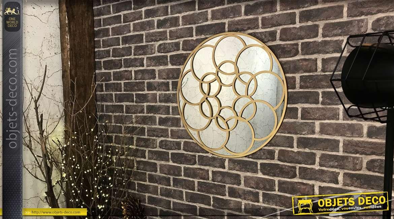 Miroir circulaire en métal finition vieux doré, Ø60, esprit chaine entrelacée
