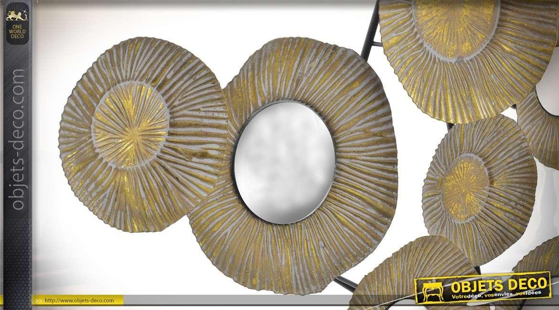 Déco murale abstraite de cercles et miroirs rond 96 cm