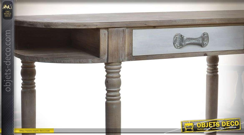 Très grande console en bois effet vieilli de 179 cm de longeur