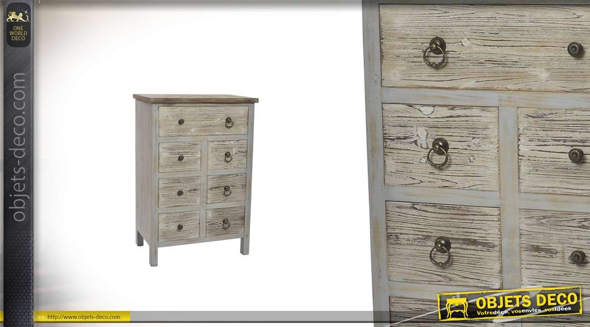 commode en bois 7 tiroirs effet vieilli de 90 cm de haut. Black Bedroom Furniture Sets. Home Design Ideas
