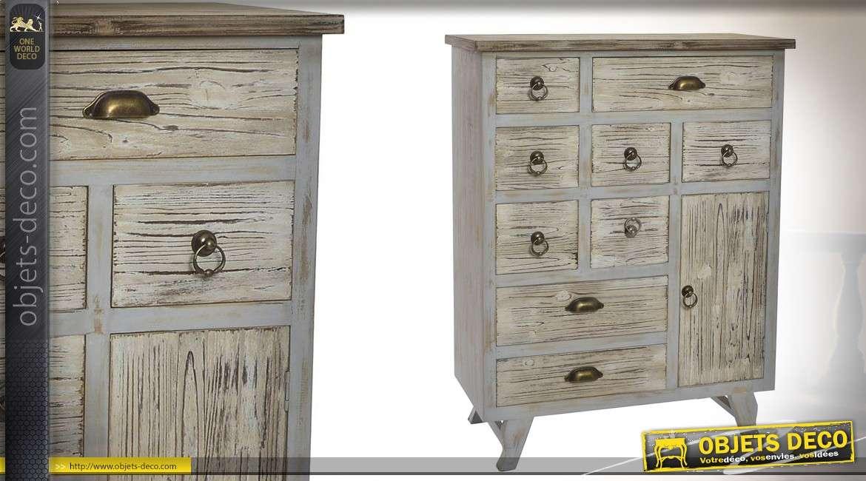 Commode en bois 10 tiroirs style récup' - 105 cm de haut