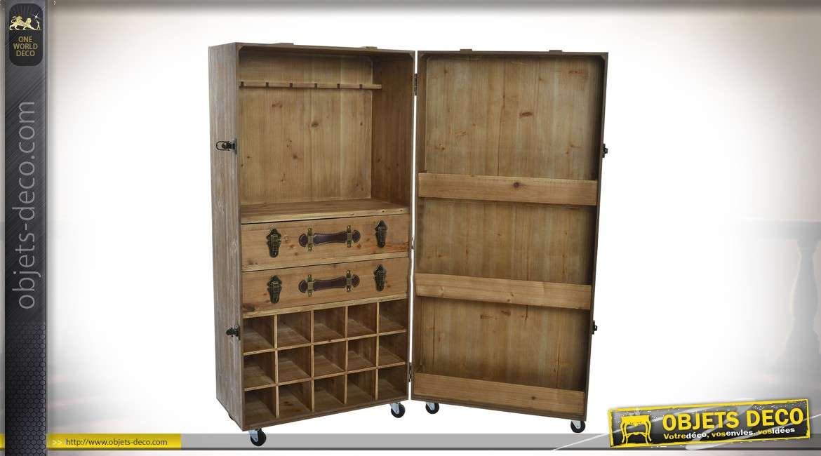 meuble cave vin en bois effet vieilli 127 cm collection pb. Black Bedroom Furniture Sets. Home Design Ideas