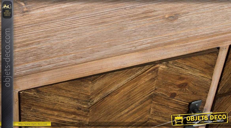 Commode en bois et métal - 5 tiroirs et une porte - 80 cm de haut