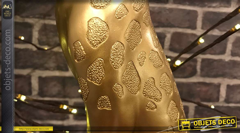 Statuette animalière de guépard, finition design, aspect métal doré 43 cm