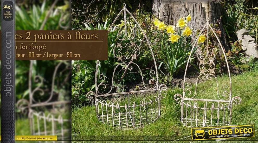 Paniers à fleurs en fer forgé