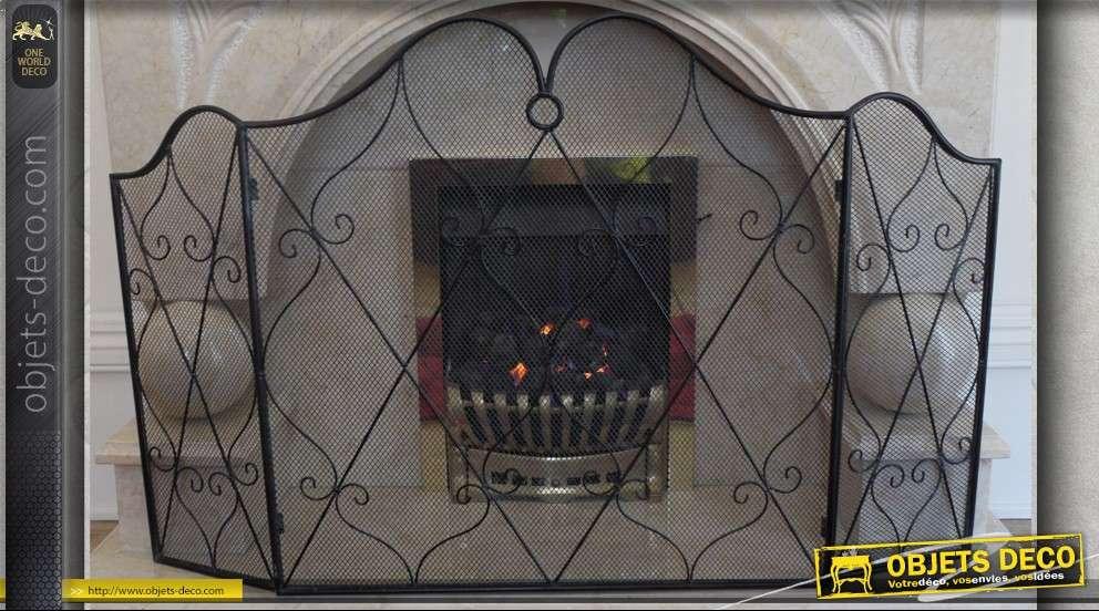 Pare feu de chemin e fer forg et grillage - Pare feu cheminee ...