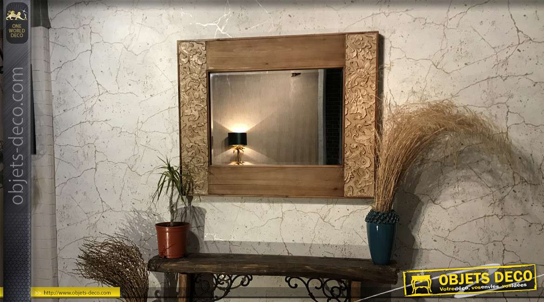 Grand miroir en bois avec effets sculptés finition doré ancien et naturel