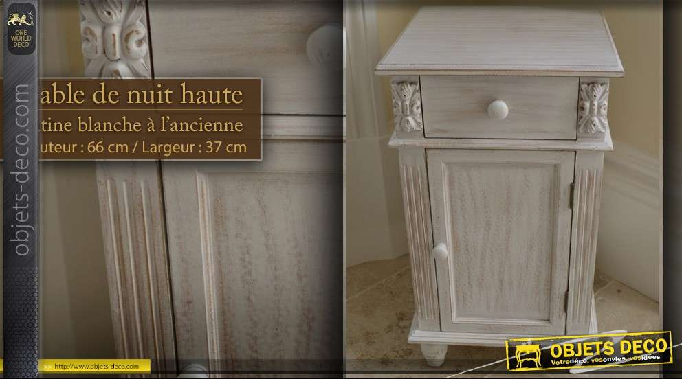table de nuit blanche patin e l 39 ancienne. Black Bedroom Furniture Sets. Home Design Ideas