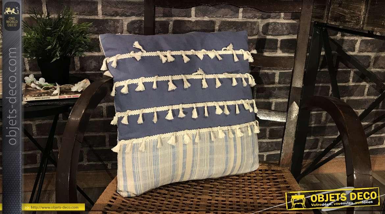 Série de 2 coussins décoratifs à franges blanches, déclinaison de bleu, 45 x 45 cm
