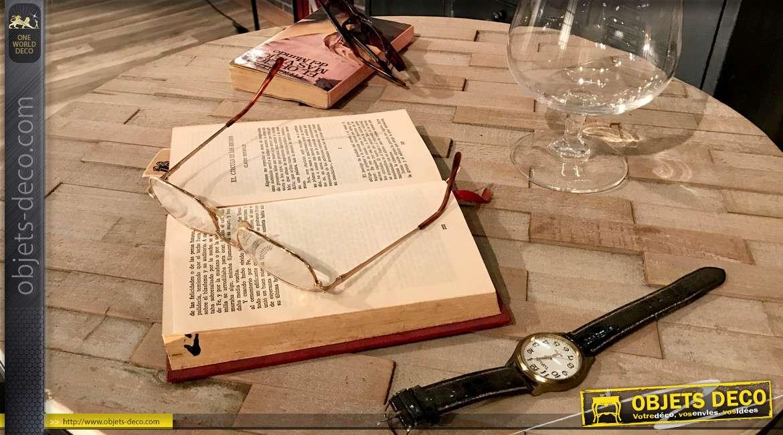 Table ronde de style indus avec hauteur ajustable, plateau effet liteaux bruts