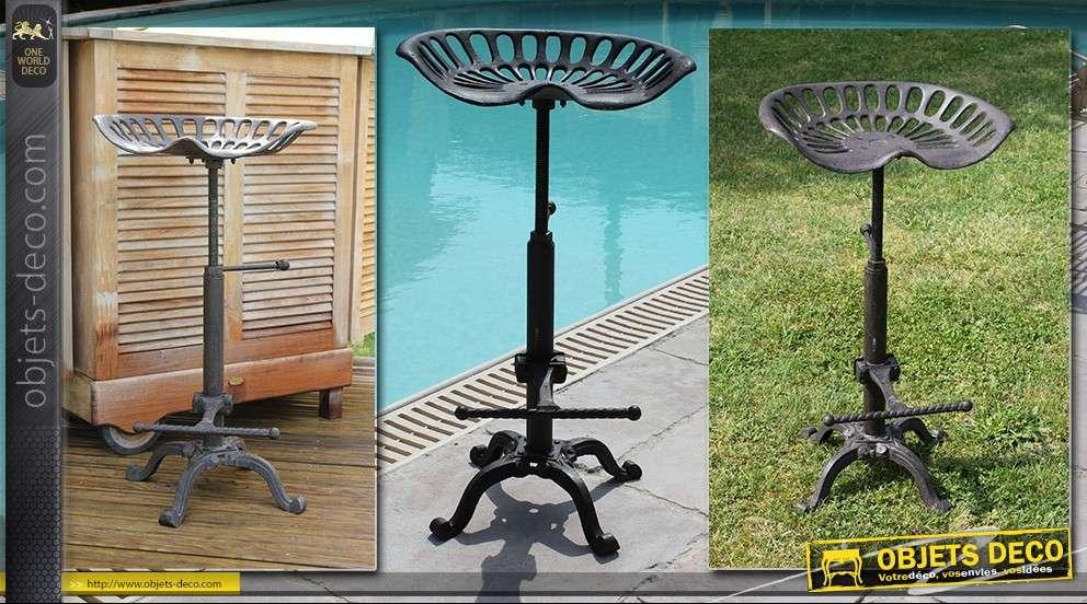 tabouret si ge de tracteur en m tal et fonte d tournement d co. Black Bedroom Furniture Sets. Home Design Ideas