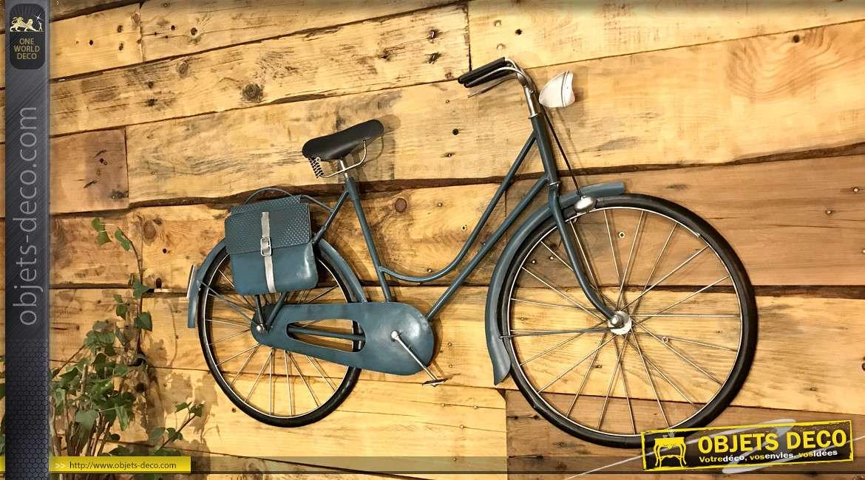 Grande déco murale en métal et en relief : bicyclette bleue rétro 88 cm