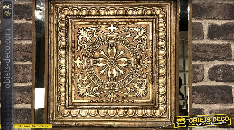 Fresque murale en métal, bois et verre, finition aspect bronze vieilli doré 48 x 48 cm