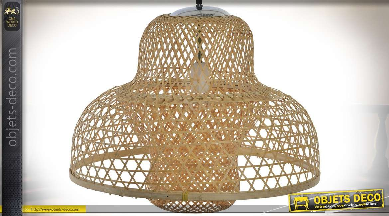 Suspension en bambou tressé naturel de style rétro et scandinave Ø 51 cm