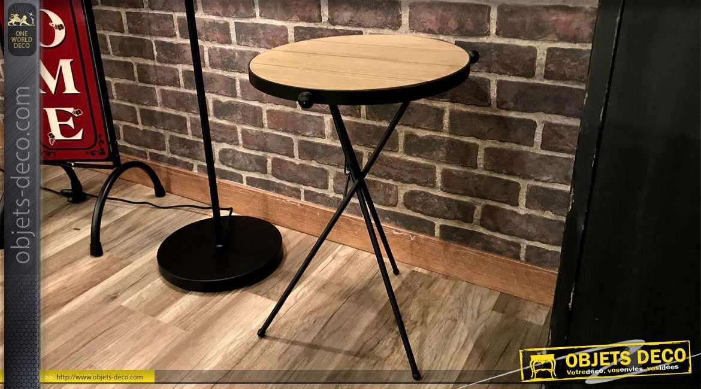 Table ronde bout de canapé en bois et métal style scandinave Ø 37 cm