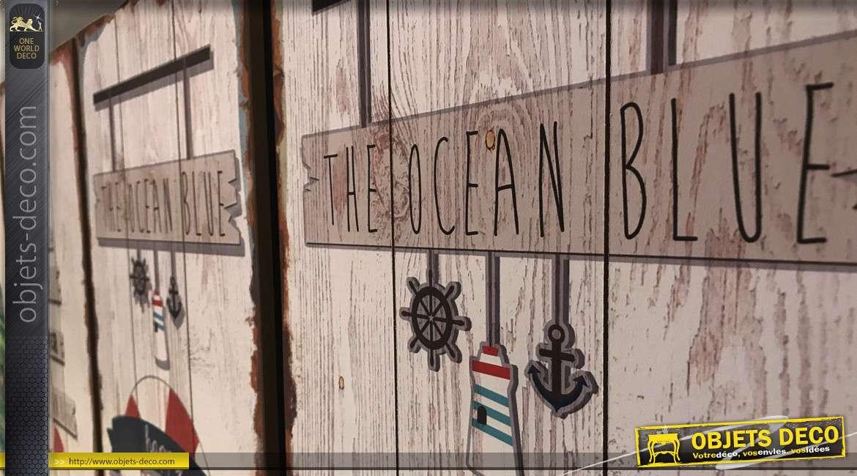 Série de 4 décorations murales en bois style vintage thème surf et bord de mer