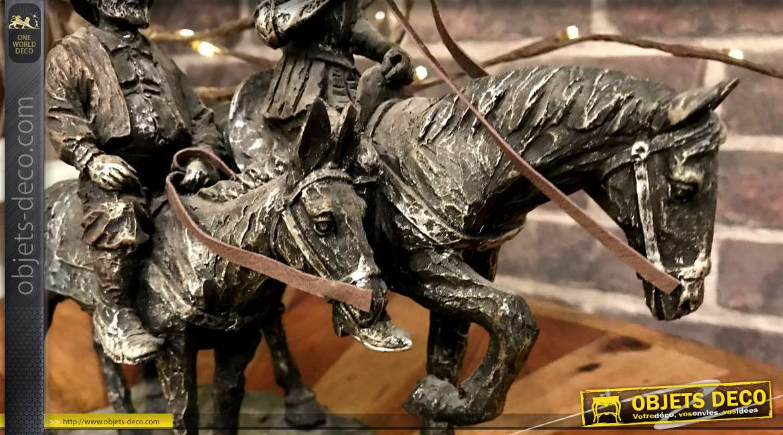 Statuette de Don Quichotte et Sancho Panza, à cheval, imitation bronze ancien