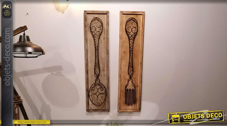 Duo de grandes décorations murales fourchette et cuillère en bois et métal 99 cm