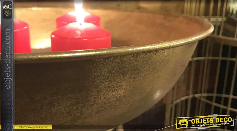 Jardinière sur pied en métal doré et vieilli style rétro et précieux 60 cm
