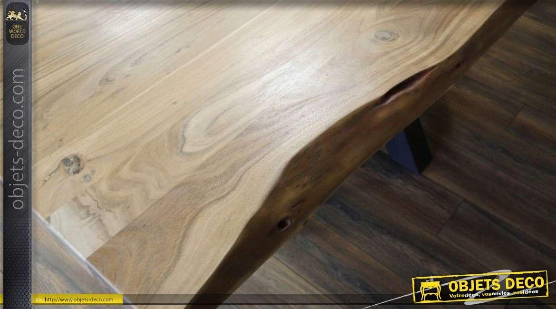 Table en acacia massif ancien avec pied en étoile en métal noir 200 cm