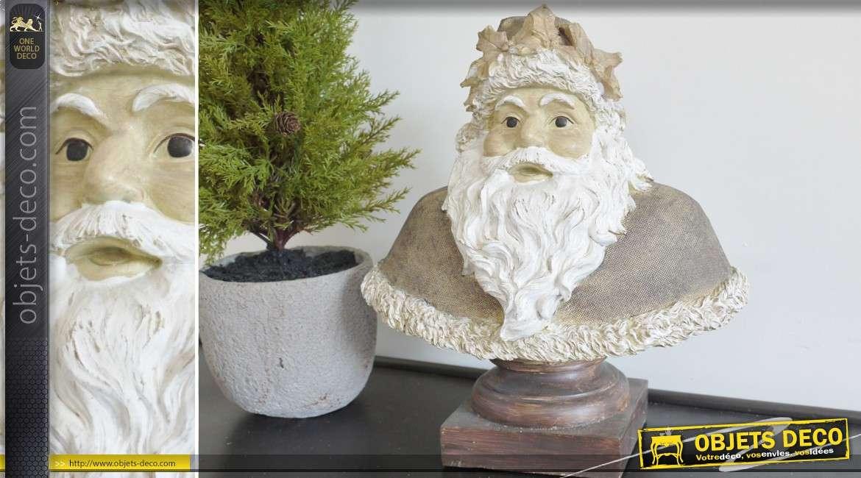 Buste de Père-Noël en bois et résine 32 cm