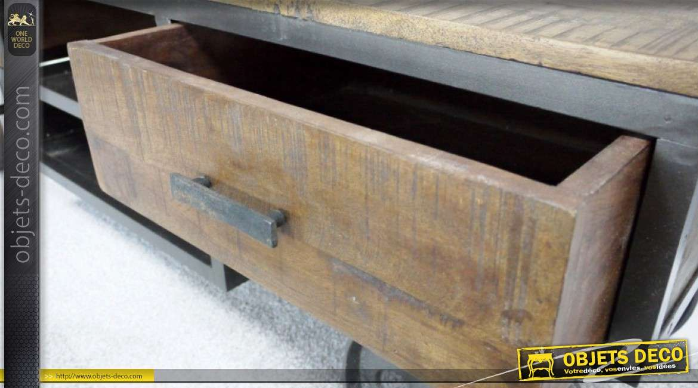 Meuble TV style chariot draisine industriel bois et métal 154 cm