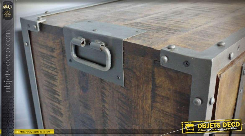 Bahut de style industriel manguier massif et acier à 4 portes