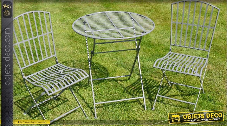 Salon De Jardin Gris Avec Deux Chaises Et Table Ronde O 70 Cm