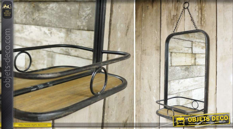 Miroir mural rétro et industriel en bois et métal avec étagère 50 cm