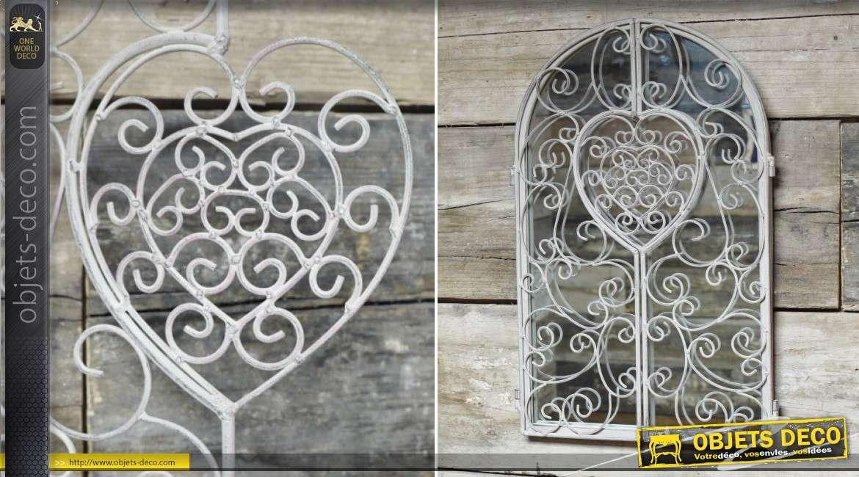 Miroir-fenêtre en métal style fer forgé gris clair 50 cm