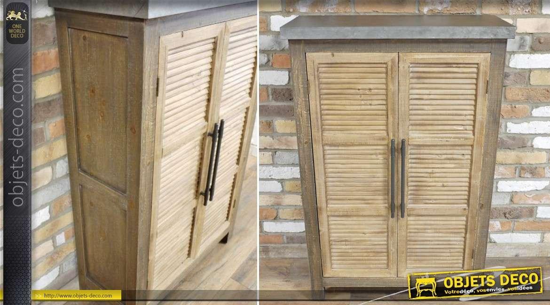 Buffet rustique et massif avec 2 portes à persiennes 120 cm