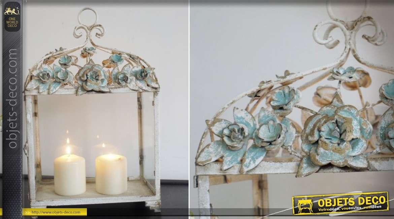 Lanterne décorative en métal de style rétro et romantique 41 cm