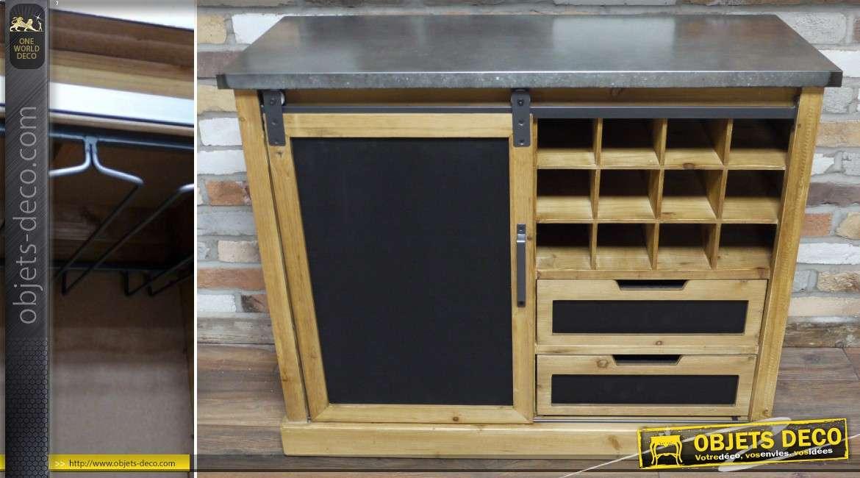 Meuble bar en bois massif et m tal de style rustique et industriel for Meuble industriel bois et metal