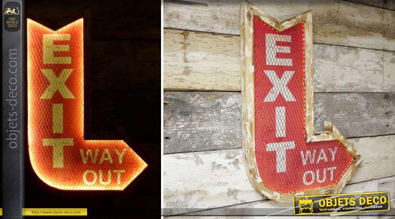 Panneau décoration murale en métal Exit de style rétro avec éclairge LED 76 cm