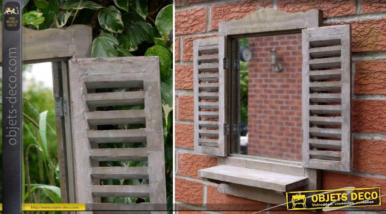 miroir fen tre en bois volets persiennes blanc antique 66 cm. Black Bedroom Furniture Sets. Home Design Ideas