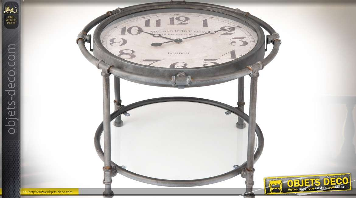 Mini Table Basse Horloge Retro En Metal Noir Mat 40 Cm