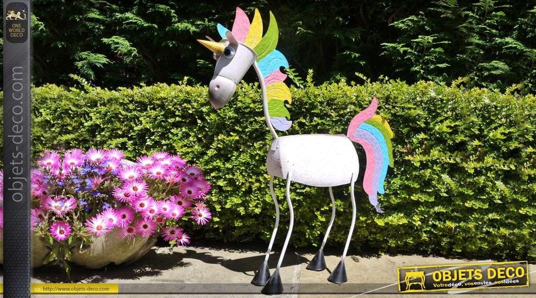 Licorne multicolore en métal stylisée pour décoration 70 cm