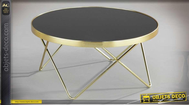 Table Basse Design Noir Et Or Et Métal Avec Plateau Circulaire En