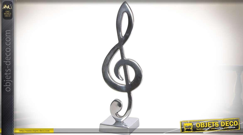 Trophée en aluminium argenté : clé de sol 43 cm