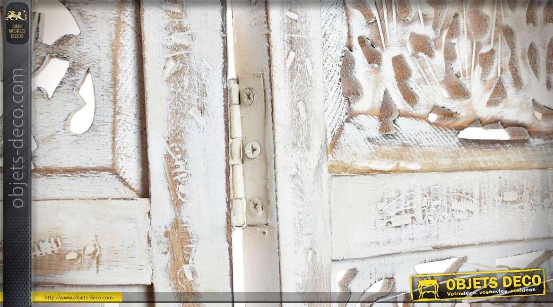 Paravent en manguier sculpté de style oriental finition blanc vieilli 180 cm