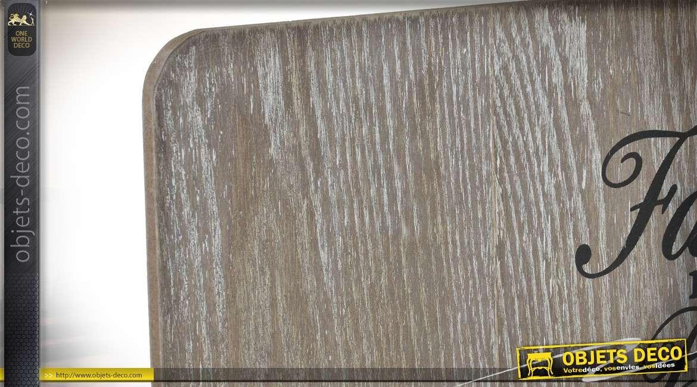 etag re murale en bois et m tal avec panier grille et. Black Bedroom Furniture Sets. Home Design Ideas