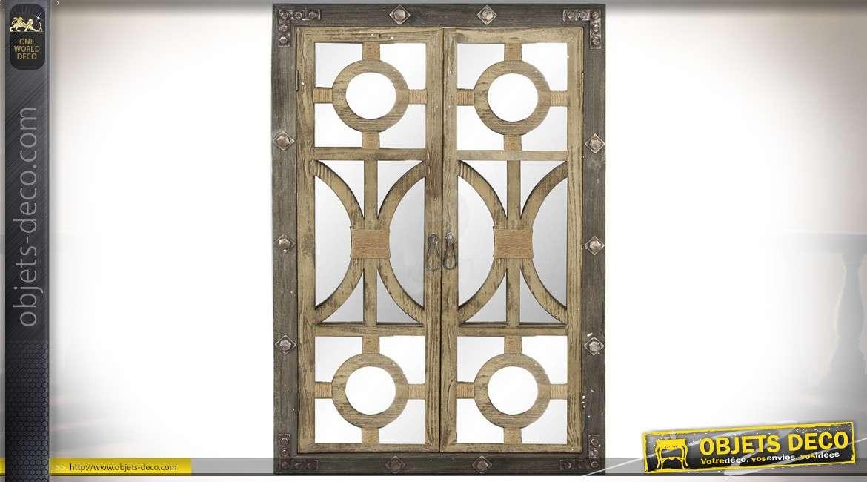 Miroir Fenêtre De Style Rustique Et Industriel En Bois Et Métal 120 Cm