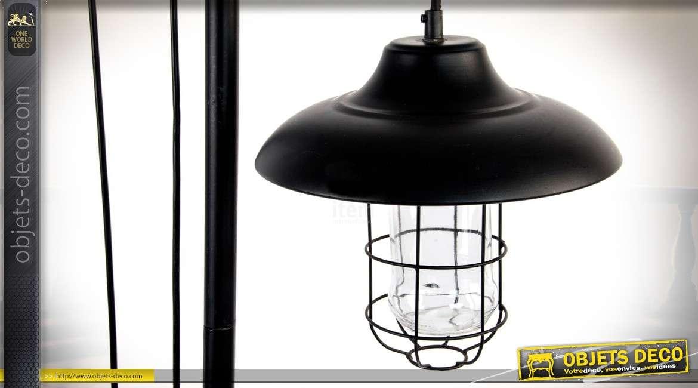 Lampadaire de style industriel et rétro avec poulies et poids 160 cm