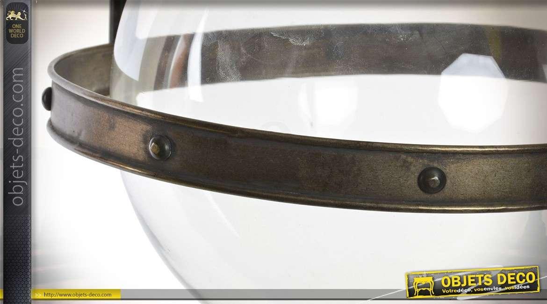 Suspension rétro sphère de verre blanc support en métal finition laiton doré vieilli