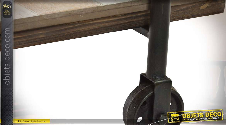 Meuble TV en bois et métal de style indus en forme d'échafaudage 140 cm