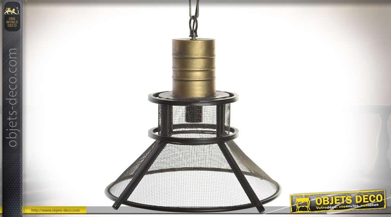 Suspension en métal de style industriel et rétro finition dorée Ø 43 cm
