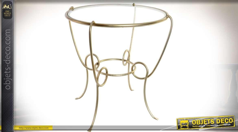 Table basse ronde design en métal doré avec plateau en verre Ø 50 cm