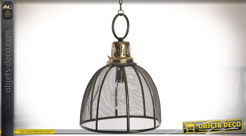 Suspension en métal rétro et industriel avec éclairage LED Ø 26 cm